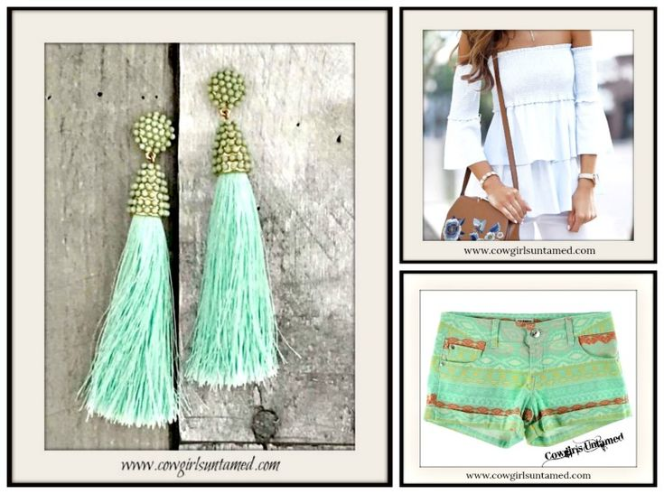COWGIRL GYPSY SHORTS Boho Aztec Multi Color Cuffed Jean Shorts/ White Tiered Top/ Mint Tassel Beaded Boho Chic Earrings  #bohochic #earrings #tassel #mint #jewelry #long #cowgirl #gypsy #bohemian #coral #white #top #blouse #shirt #smocked #orange #offtheshoulder #shorts #jean #denim #aztec #tribal #designer #womens #clothing #fashion  #style #onlineshopping