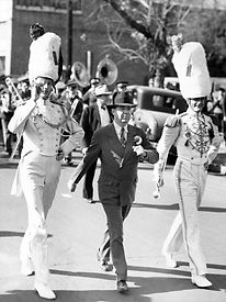 Louisiana Gov. Huey P. Long marching with LSU's Golden Band From Tigerland - this is awesome! :)