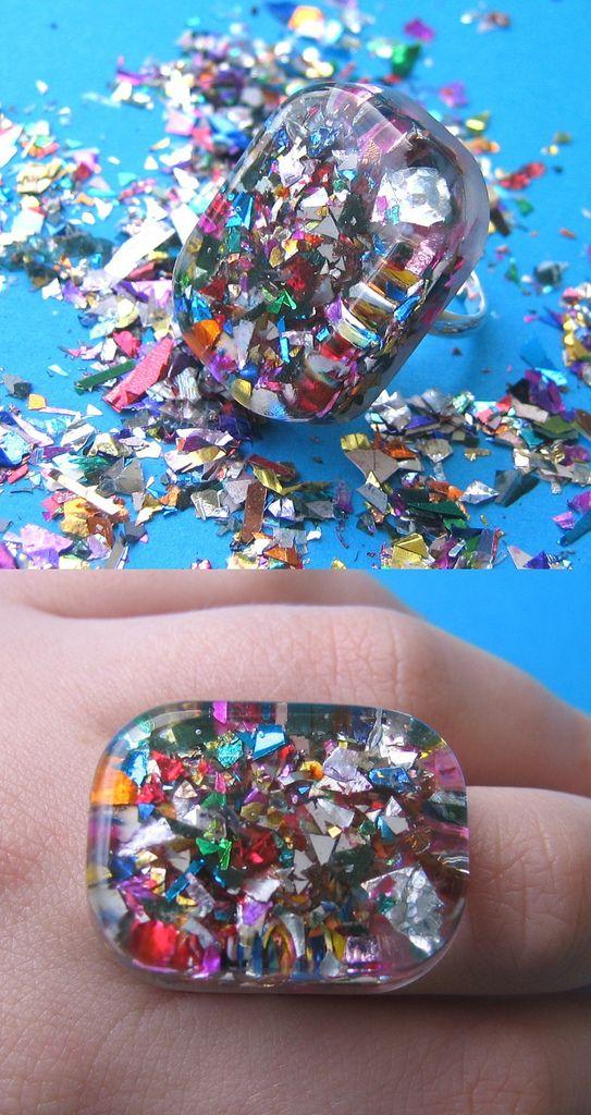 sparkle resin ring   by Jings Things