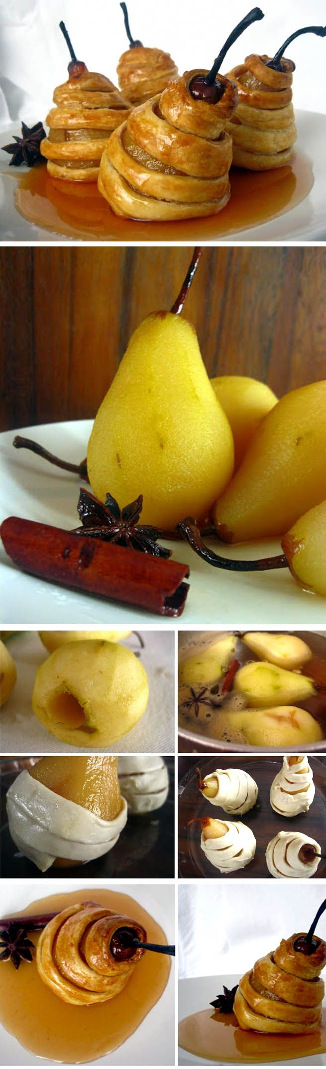 Ingredients * 4 not very ripe pears, peeled * 1L water * 1.5 cups sugar * 0.5 cup honey * taste flavors: cinnamon, cloves, star anise, etc. * juice from half a lemon * 200g dough ready cut strips of 8mm width