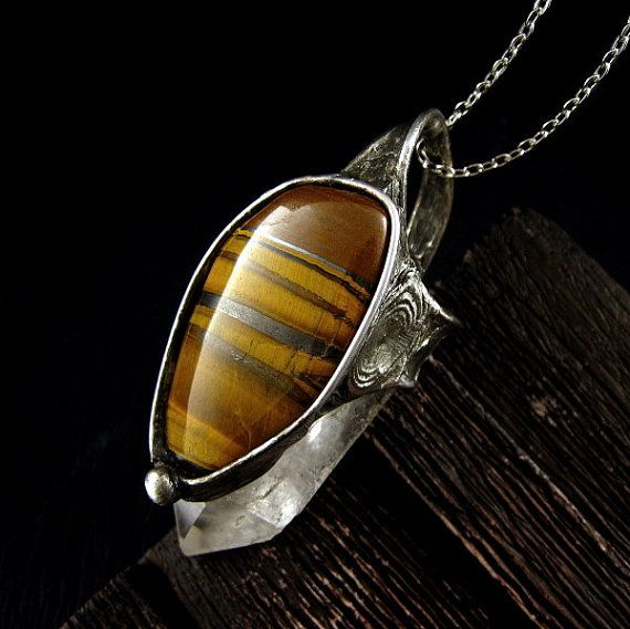 Large Tiger Eye & Raw Crystal Necklace by AMW #crystal #crystalnecklace #crystaljewelry #jewelry #jewellery #stones #gemstone #sterlingsilver #amethystnecklace #silverjewelry #handmade #beautiful #design #bohemian #etsy #style #fashion #hippie #boho #necklace #pendant #amwgallery
