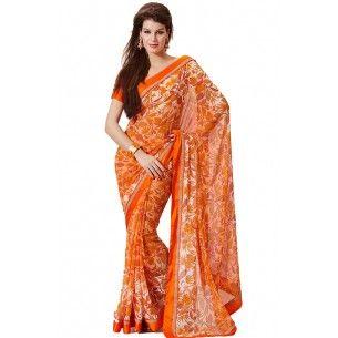 Shop Now = http://www.valehri.com/orange-partywear-saree-with-blouse-470