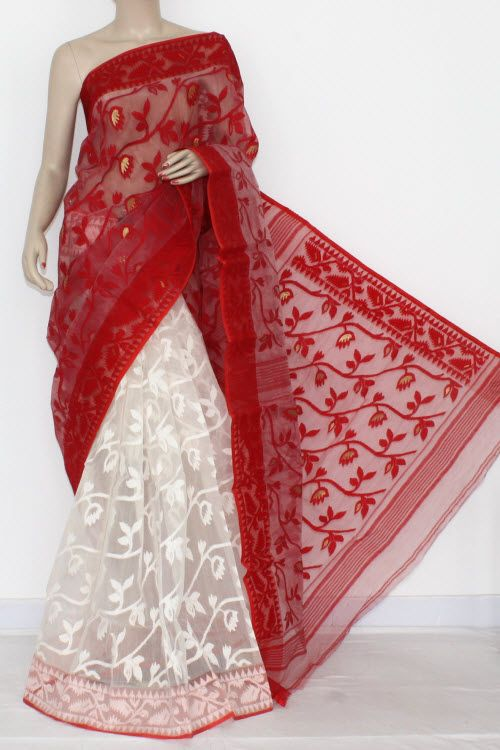Red White Handwoven Bengali Tant Kora Cotton Jamdani Saree (Without Blouse) Half-Half 17212