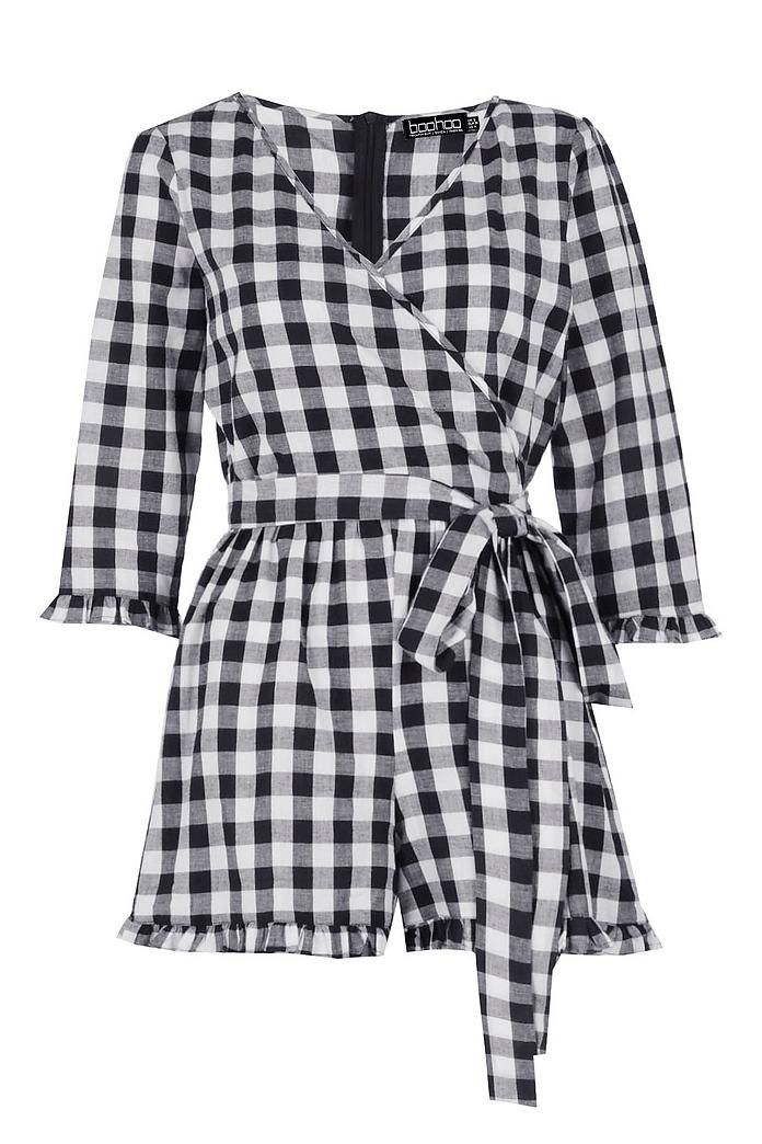 75438acc1088 Cerys Gingham Frill Wrap Belted Playsuit - Boohoo