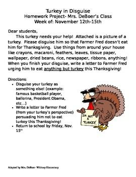 This is a different spin on the classic Turkey in Disguise project. Students not only disguise their turkey printout (included), but they also write a persuasive letter to Farmer Fred urging him not to eat turkey anymore! This is my most popular homework project of the year and the turkeys look amazing on our bulletin board!
