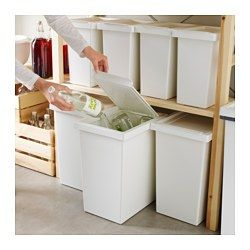SHRED. TRASH. RECYCL. IKEA - FILUR, Bin with lid, 7 gallon, , Easy to clean as the corners are rounded.