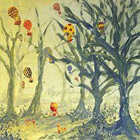 Alkonyban hőlégballonozó limimik című akril festmény - Vágyi Gabriella Art #festmény #művészet #mese #manó #manóvilág #akril