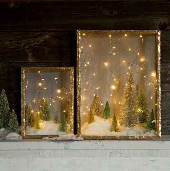 winter shadow box using Original Starry String Lights and Bag-O-Frosted Topiaries Trees