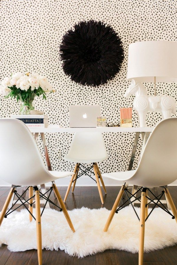 A White Black Office With The World Market Mix And Match Desk Waiting On