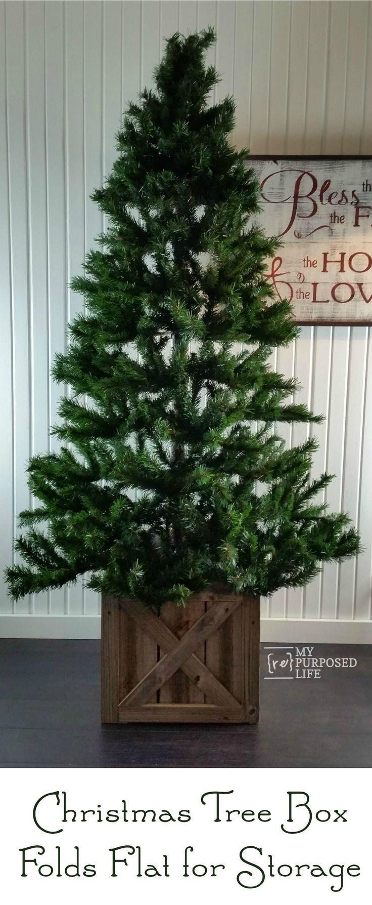 Christmas Tree Stand Box Folds Flat For Storage Myrepurposedlife Com Artificial Christmas Tre Christmas Tree Stand Diy Diy Christmas Tree Christmas Tree Box