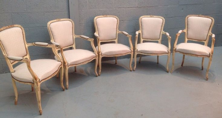 SET OF 5 FRENCH ARMCHAIRS