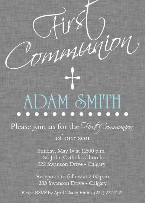 Boy First Communion Invitation - Grey 1st Communion Invitation - Printable by Ilona's Design on Etsy I /ilonaspassion/