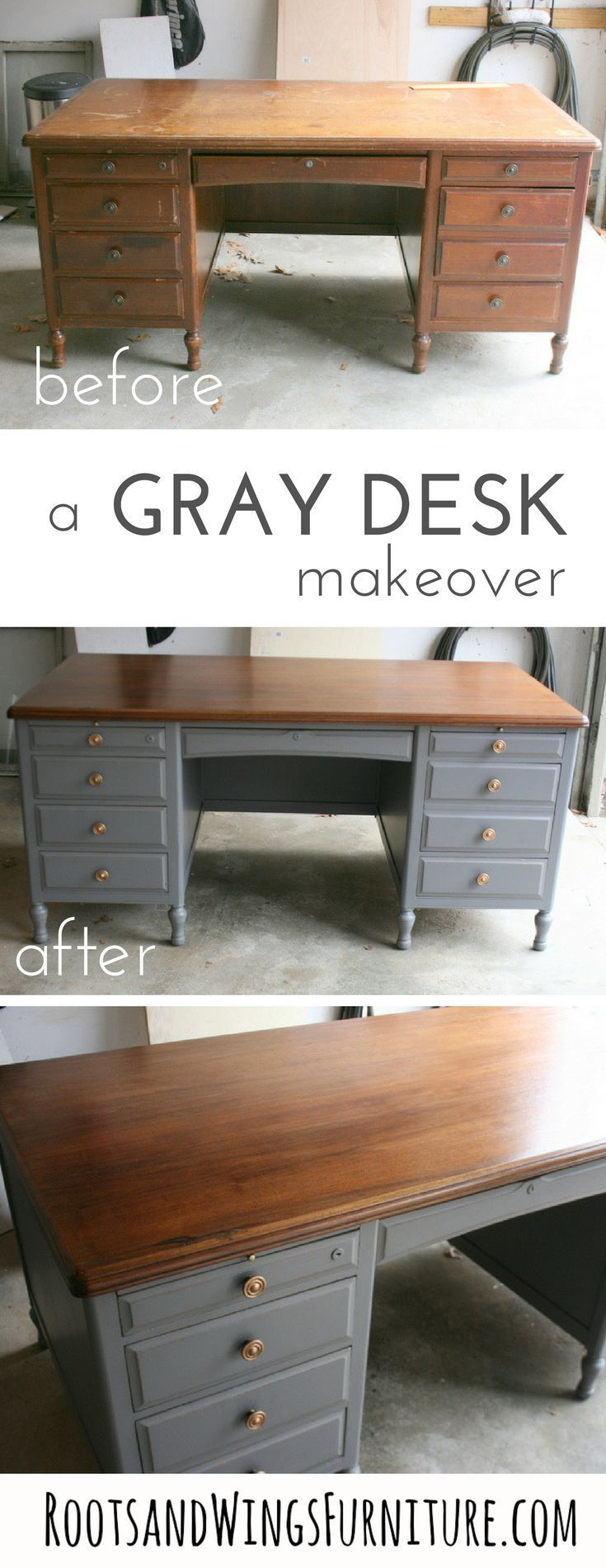 A refinished gray executive style desk. Top refinished wood, base refinished with Driftwood Gray Milk Paint. Before and After by Jenni of Roots and Wings Furniture. #paintingfurniture