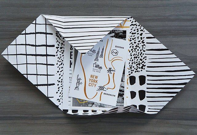 Love these modern black, white, and gold foil wedding invitations by #designerrolodex member @and_hereweare! They used this patterned wrap inside a translucent envelope instead of a traditional envelope liner. So cool! On OSBP today!