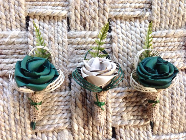 Burlap hessian wrapped buttonholes for men. www.flaxation.co.nz