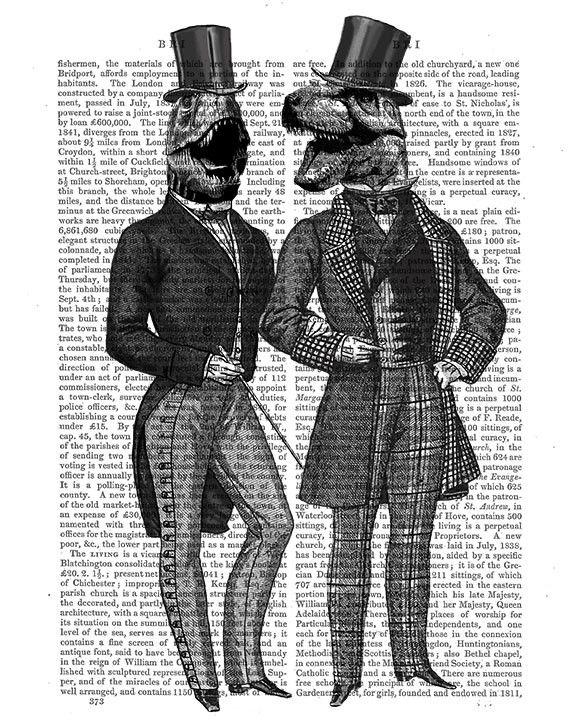 Dinosaur Men, Lads Night Out Book Print
