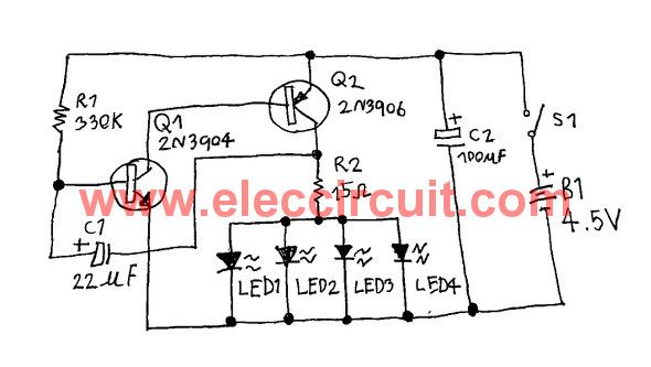 This is a fast blinking LED bike light circuit For safety when the bike at night. We use two-NPN-PNP transistor oscillator and RC circuit,show on 4 LEDs