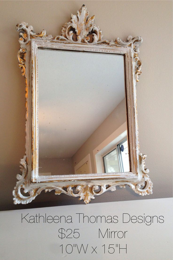 Gold and white vanity mirror