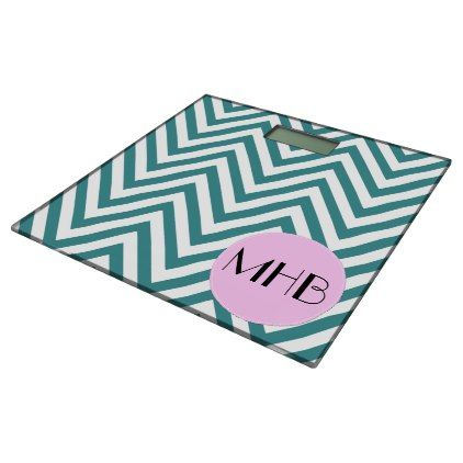Monogram - Zigzag Chevron Pattern - Blue Pink Bathroom Scale - monogram gifts unique design style monogrammed diy cyo customize