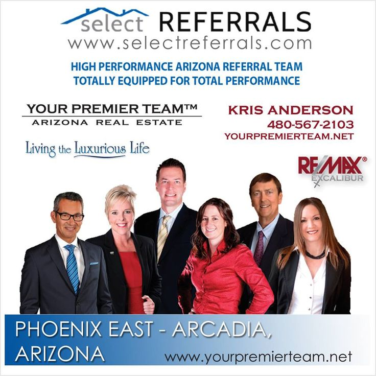 """RE/MAX Select Referrals Team Members Kris Anderson and """"Your Premier Team"""" are Totally Equipped for Total Performance! With over 34 years of combined real estate experience and over 65 years of combined sales experience, they can help everyone from first time home buyers to season investors and every need in-between. To send your Phoenix area referrals to Kris, contact direct at: 480-567-2103 or via our website at www.selectreferrals.com #selectreferrals#remax #arizonarealestate @kri"""