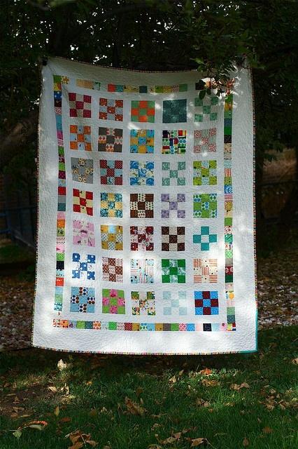 Scrap nine patch quilt.