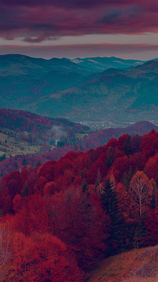Fall Mountain Fun Red Tree Nature Dark Beautiful iPhone 8 wallpaper