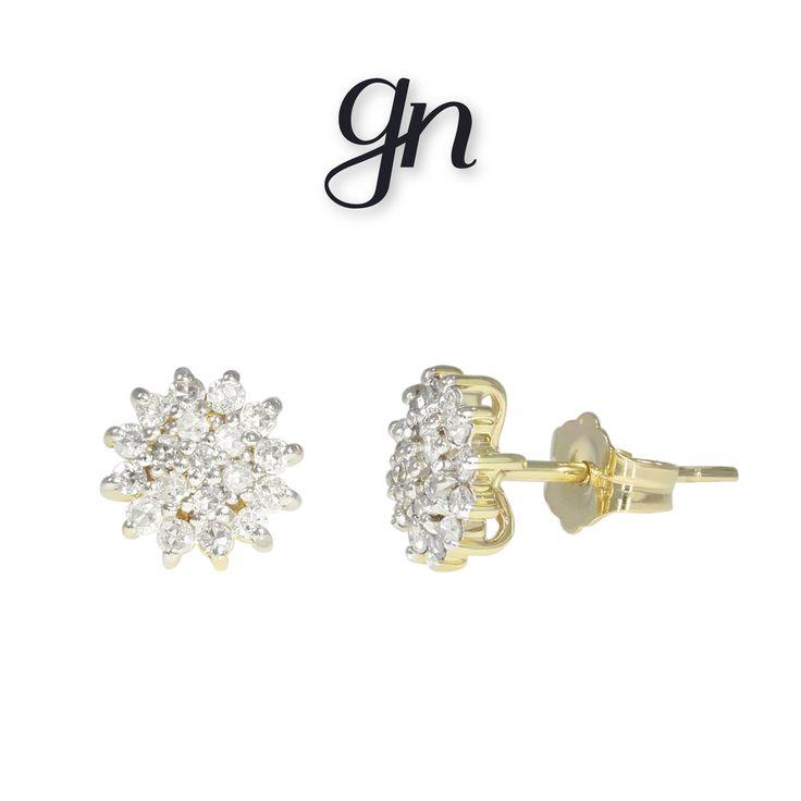 Broqueles de roseta en oro de 14k y diamantes. ¡Encuéntralos en GN! | Conoce más https://www.facebook.com/joyeriagn/