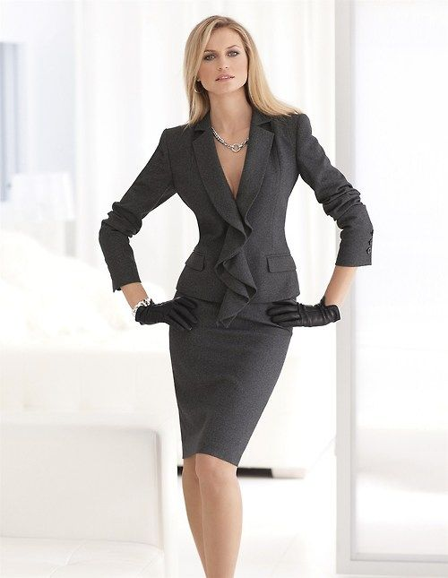 Gray suit. Office apparel for women. Work, formal outfit. leather ...