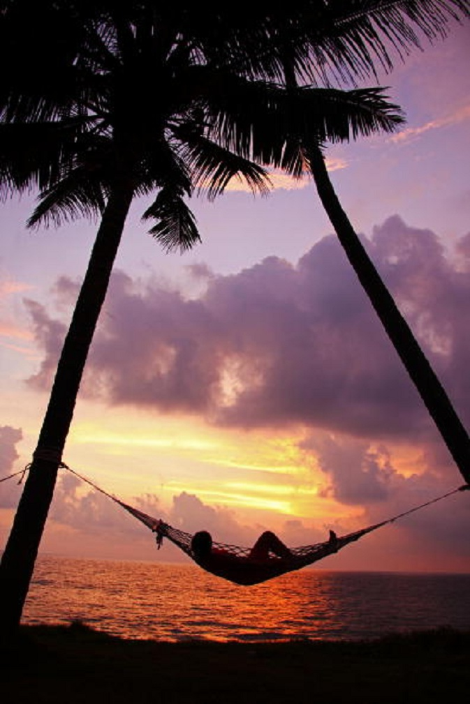 A woman relaxes in a hammock between two palm trees at sunset on the beach of Varkala, India