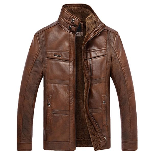 Faux Leather Inside Fleece Stand Collar Mutil Pockets Thicken Warm Biker Jacket for Men  #men #fashion