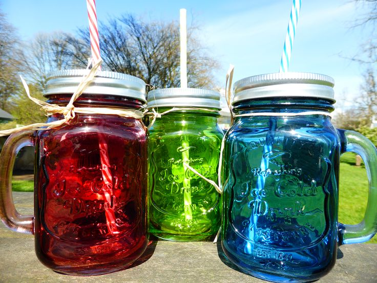 Colourful drinking jars!