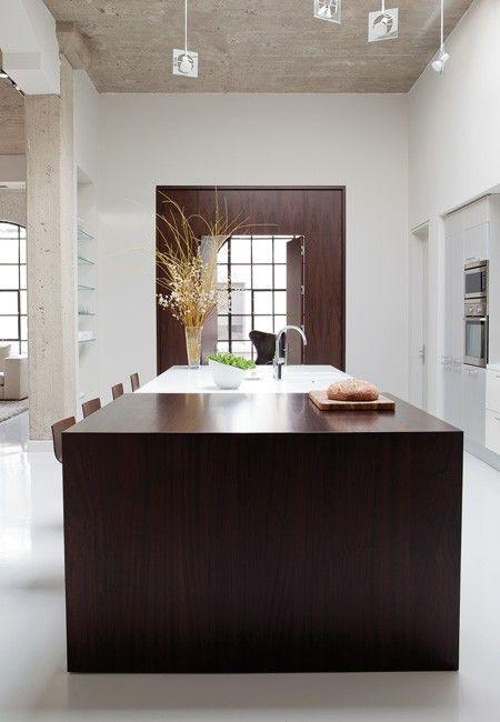 White Kitchen With Wood & Concrete   photo Monic Richard   design Julie Charbonneau   House & Home