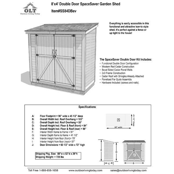 Spacesaver 8 Ft W X 4 Ft D Solid Wood Lean To Tool Shed In 2020 Tool Sheds Shed Plans Small Shed Plans