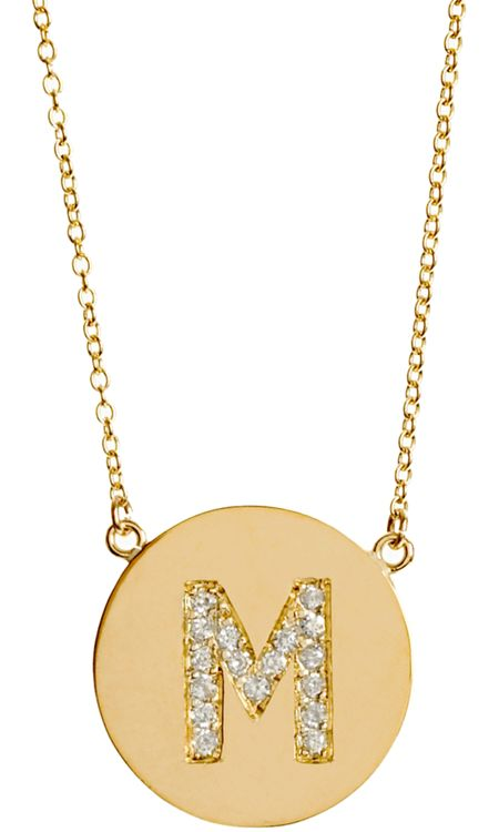 Jennifer Meyer Yellow Gold & Diamond 'M' Pendant Necklace - of course I would get an S instead of an M. $1,800