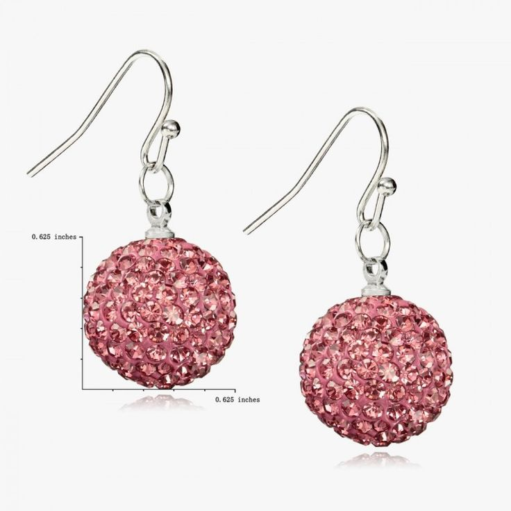 Shop for Crystal Ball Drop Earrings, OKAJewelry Fuchsia Pave Crystal Ball Drop Earrings feature a pave crystal ball dangling below a silver tone hook.