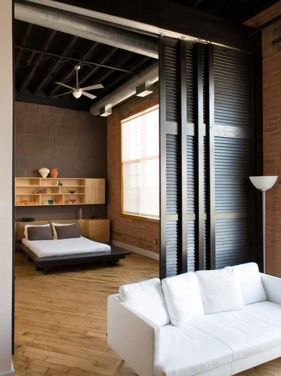 double slider within the opening. Also could do two doors / two channels  across both - Top 25+ Best Room Divider Curtain Ideas On Pinterest Curtain
