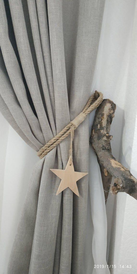 Rope Curtain Tiebacks With Wooden Star Nursery Curtain Tie Back