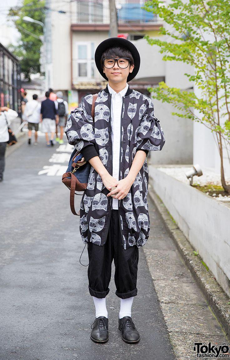 Harajuku Guy w/ Glasses & Bowler Hat in Cat Print Jacket, Y's Pants & Uniqlo