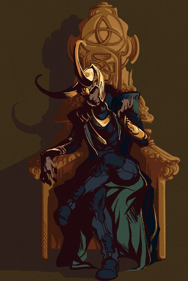 Loki seated on the throne of Asgard