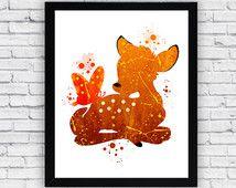 Impression, d'aquarelle Bambi Bambi Wall Art, Art mural Bambi, décor de crèche Bambi, Bambi garçons décor, Bambi bébé garçon chambre d'enfant