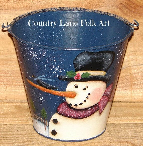 Hand Painted Galvanized Buckets