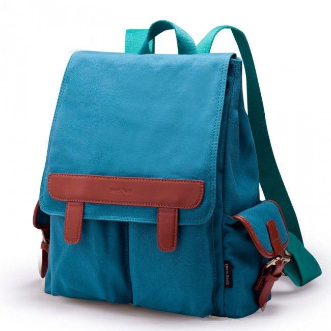 Style d'université de cuir contraste Couleur Toile Sac à dos just $35 in ByGoods.com
