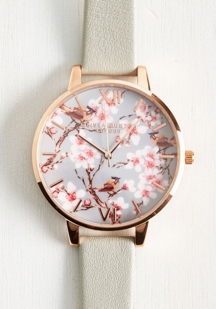 Divinely Timed Watch. Keep up with your sophisticated schedule by sporting this Painterly Prints watch from Olivia Burton - a timepiece thats just as detailed! #grey #modcloth