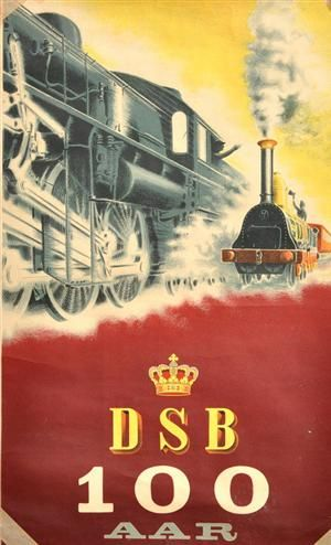 Danish poster - 100 years of DSB (Danish Railways) in 1985.