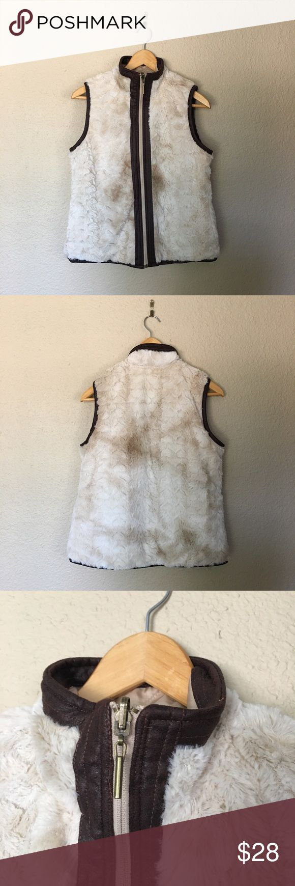 Cream and Brown Faux Fur Vest Tan Faux Fur Fuzzy Vest. Reversible to a water resistant side. Great condition. Pockets on both sides ac-tiv-ology Jackets & Coats Vests