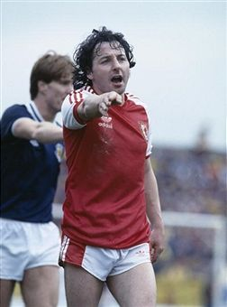 Mickey Thomas of Wales in action against Scotland in 1982.