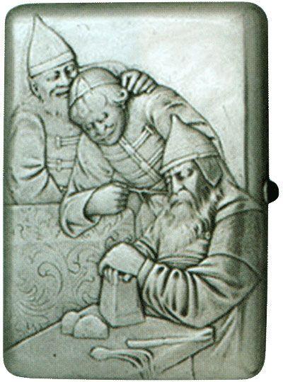 Портсигар «Спящий Богатырь» Конец XIX - начало XX веков