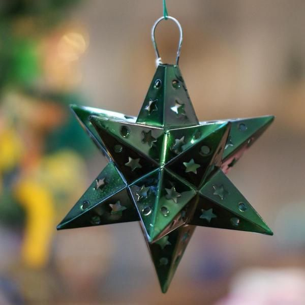 Large 12 Points Mexican Tin Star Christmas Ornament, Painted