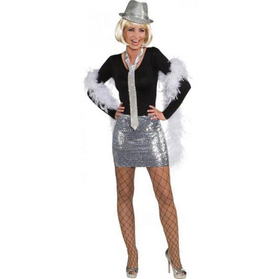 Pailletten rok & top zilver. Deze zilveren rok met pailletten is geschikt voor dames kan tevens gedragen worden als strapless top. Materiaal: 98% polyester 2% spandex.