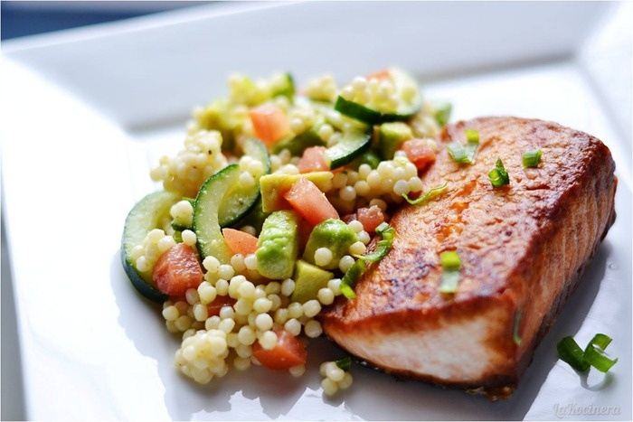 Salmon with Israeli couscous with avocado, cucumber, and tomatoes